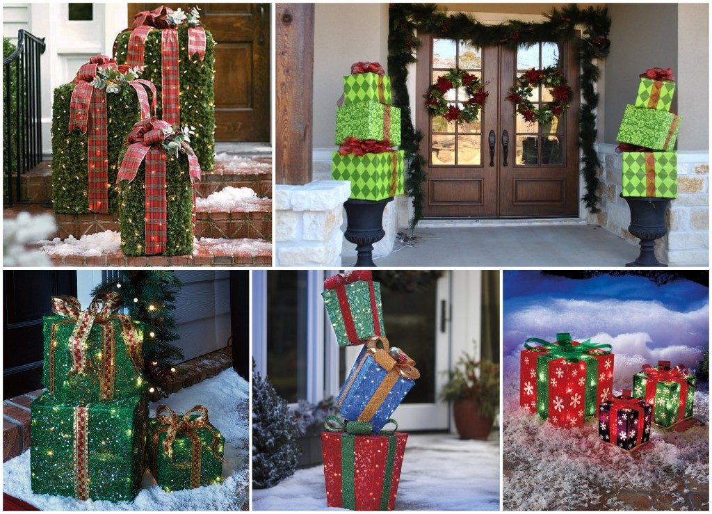 Имитация праздничных подарков для украшения двора