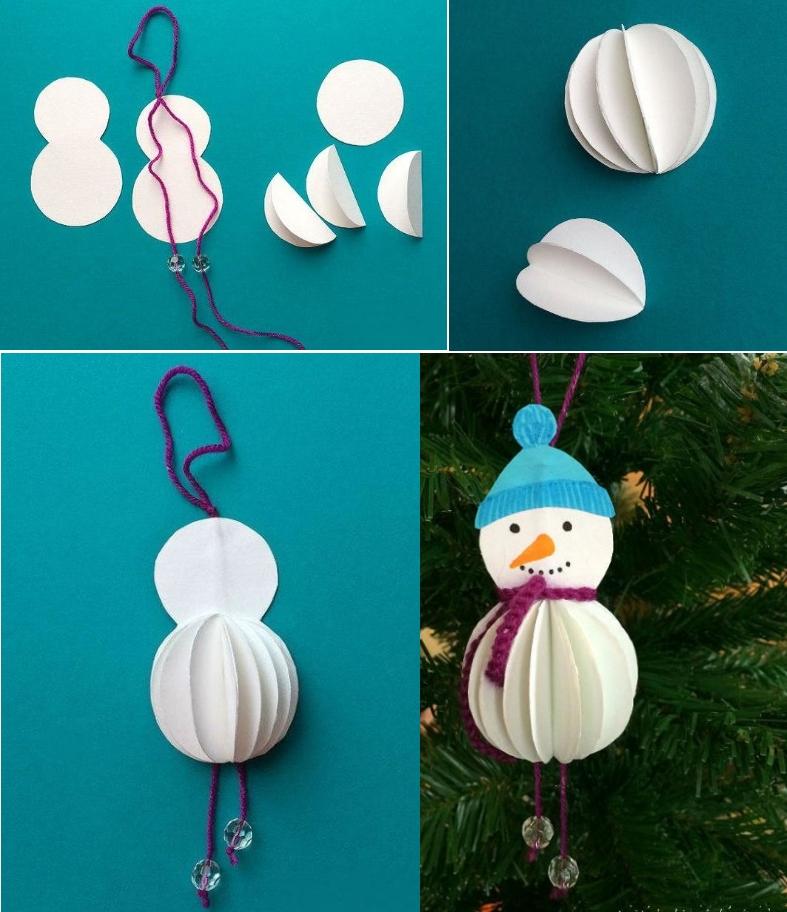 Снеговик из кружков бумаги