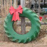 Фото 48: Рождественский венок из старой шины