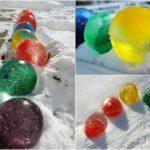 Фото 49: Ледовые цветные шары для украшения дорожек