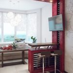 Фото 32: Кухня красно - белая