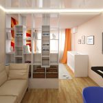 Фото 71: Спальня и гостиная зонирование