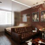 Фото 45: Спальня совмещённая с гостиной
