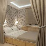 Фото 54: Узкая спальня - дизайн
