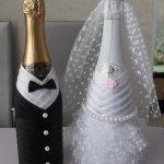 Фото 44: Свадебное украшение бутылок