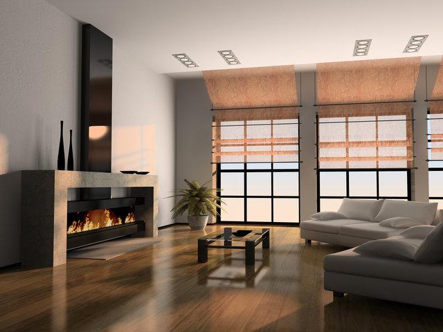 Электрокамин в комнате с французскими окнами