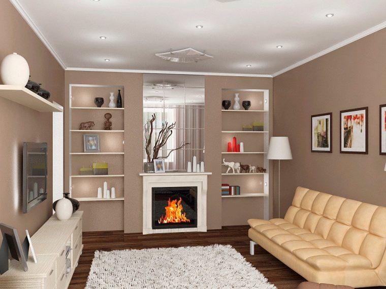 Создаем интересный дизайн комнаты в доме с камином